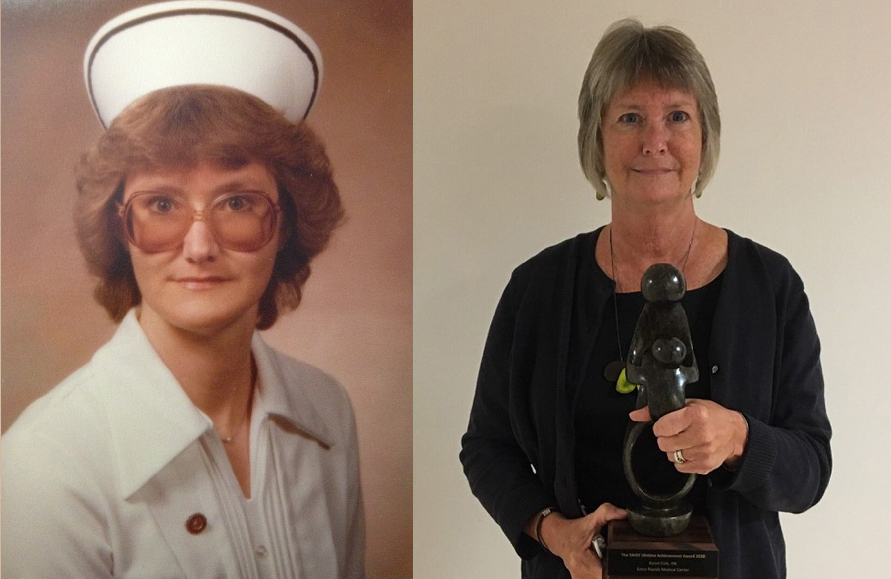 Karen Cole, RN at the beginning of her career and accepting the DAISY Award last week.